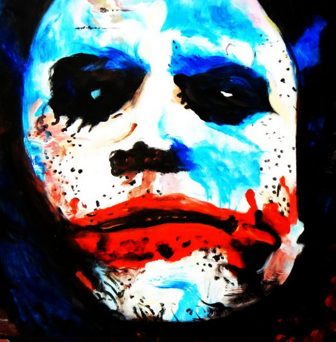 Homage of the Dark Knight - The Joker Heath Ledger g92362 80x80cm exquisites Ölgemälde