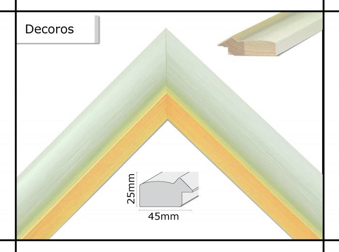 Holzrahmen Decoros Weiß / Goldkante - Der Rahmen wird zur Selbstmontage* geliefert.