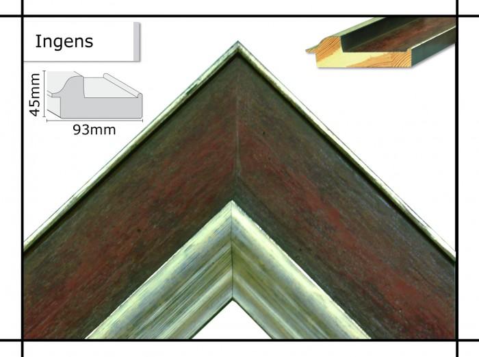 Holzrahmen Ingens Braun mit Silberkante - Der Rahmen wird zur Selbstmontage* geliefert.