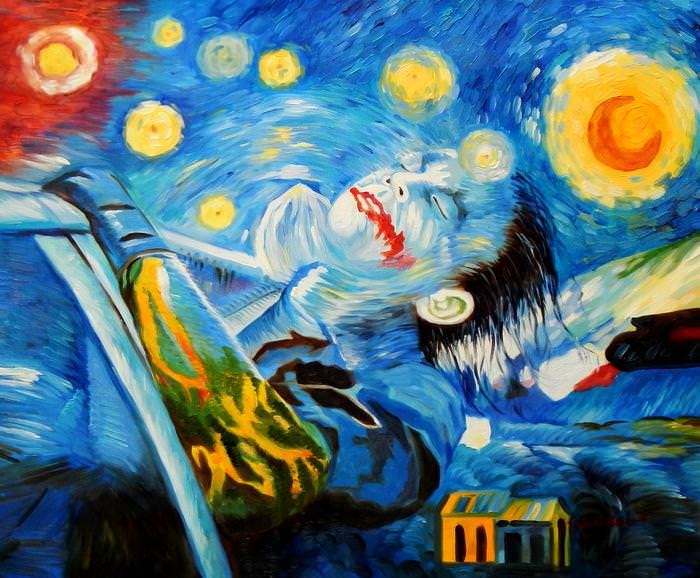 Modern Art - Joker meets starry night c92608 50x60cm exquisites Ölbild
