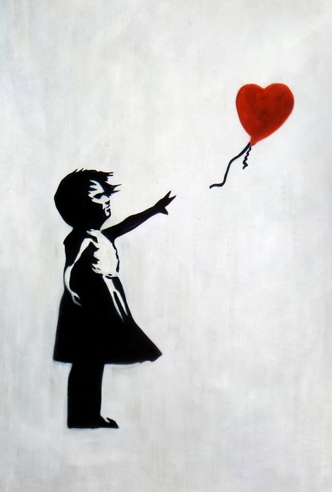 Homage to Banksy - Girl with balloon d92644 60x90cm exquisites Ölgemälde