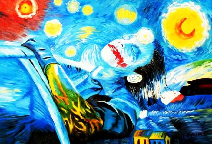Modern Art - Joker meets starry night d92669 60x90cm exquisites Ölbild