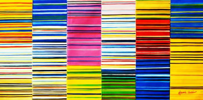 Modern Art - Lorenz stripes homage of Paul Smith f92693 60x120cm Ölgemälde