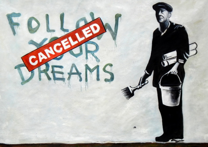 Homage to Banksy - Follow your Dreams i92753 G 80x110cm exquisites Ölbild