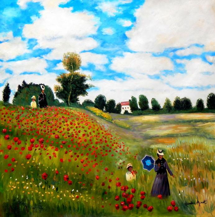 Claude Monet - Mohnfeld bei Argenteuil m92788 120x120cm exzellentes Ölbild