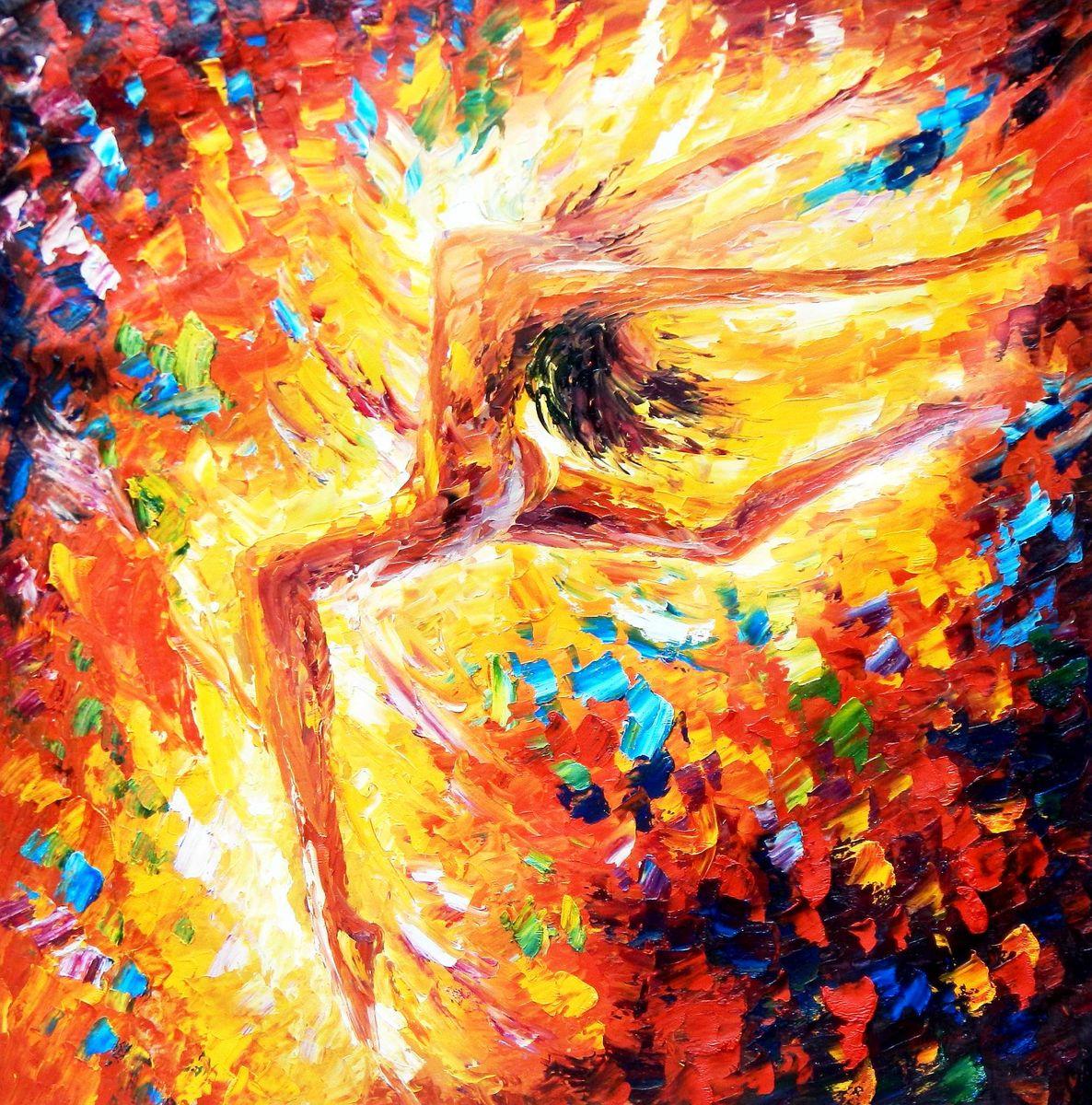 Abstrakt - Kraft durch Tanz m92793 120x120cm handgemaltes Ölgemälde