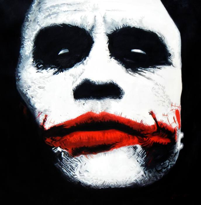 Homage of the Dark Knight - The Joker m92798 120x120cm exquisites Ölgemälde