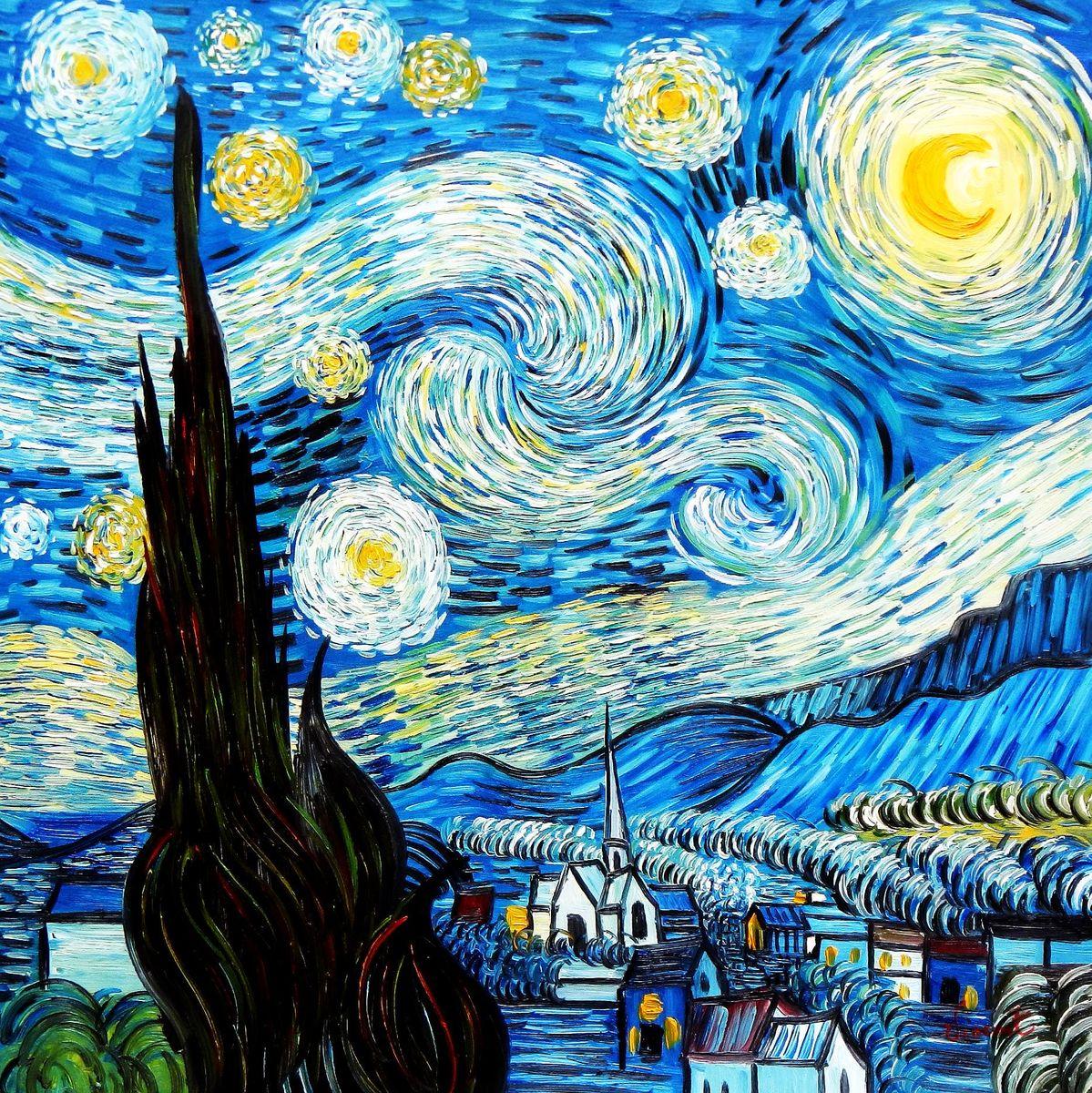 Vincent van Gogh - Sternennacht g92951 80x80cm exzellentes Ölgemälde handgemalt