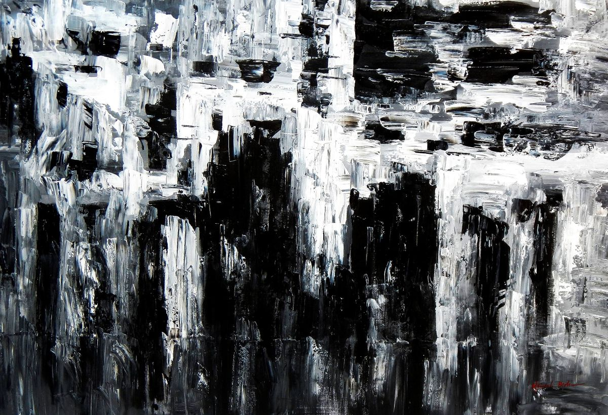Abstrakt - Nacht in New York p93018 120x180cm Ölgemälde handgemalt