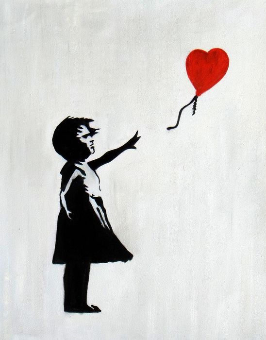 Homage to Banksy - Girl with balloon b93027 40x50cm exquisites Ölgemälde