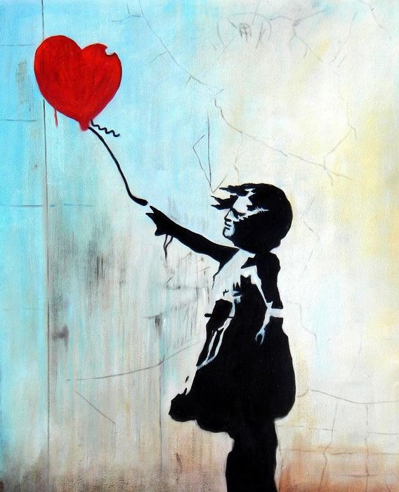 Homage to Banksy - Girl with balloon c93036 50x60cm exquisites Ölgemälde