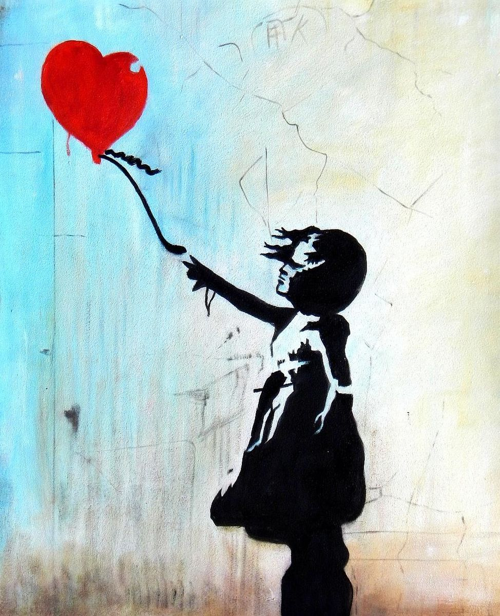 Homage to Banksy - Girl with balloon c93037 50x60cm exquisites Ölgemälde