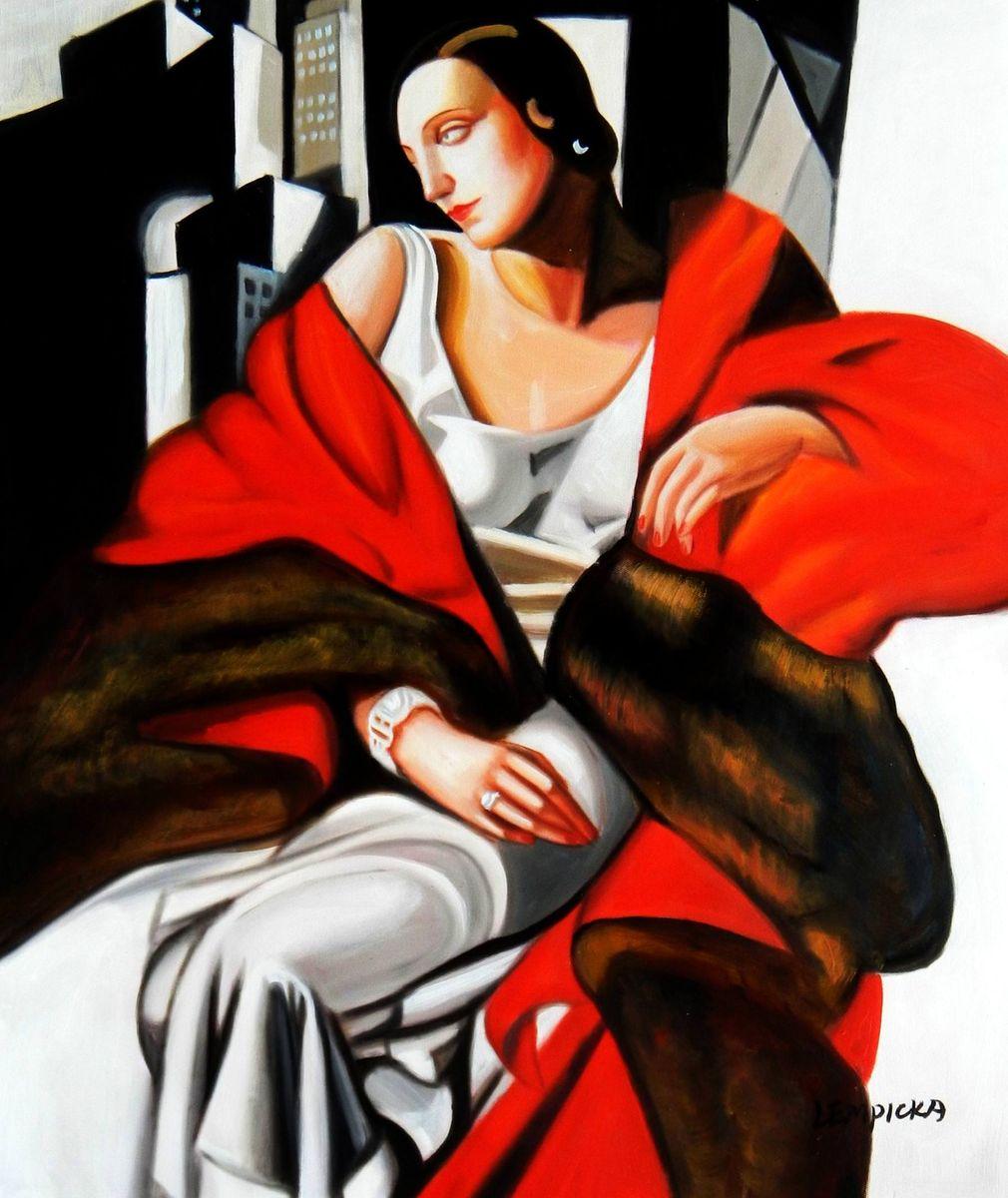 Homage to T. de Lempicka - Portrait der Madame Boucard c93044 50x60cm Art Deco Ölgemälde handgemalt