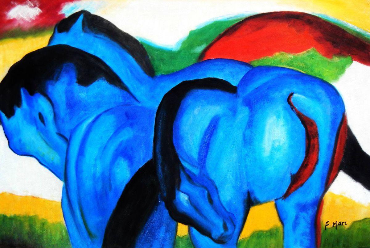 Franz Marc - Große blaue Pferde d93073 60x90cm exzellentes Ölgemälde