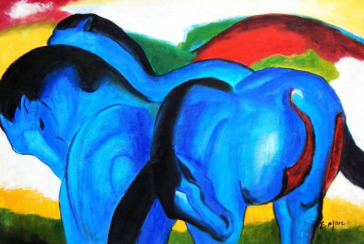 Franz Marc - Große blaue Pferde d93075 60x90cm exzellentes Ölgemälde