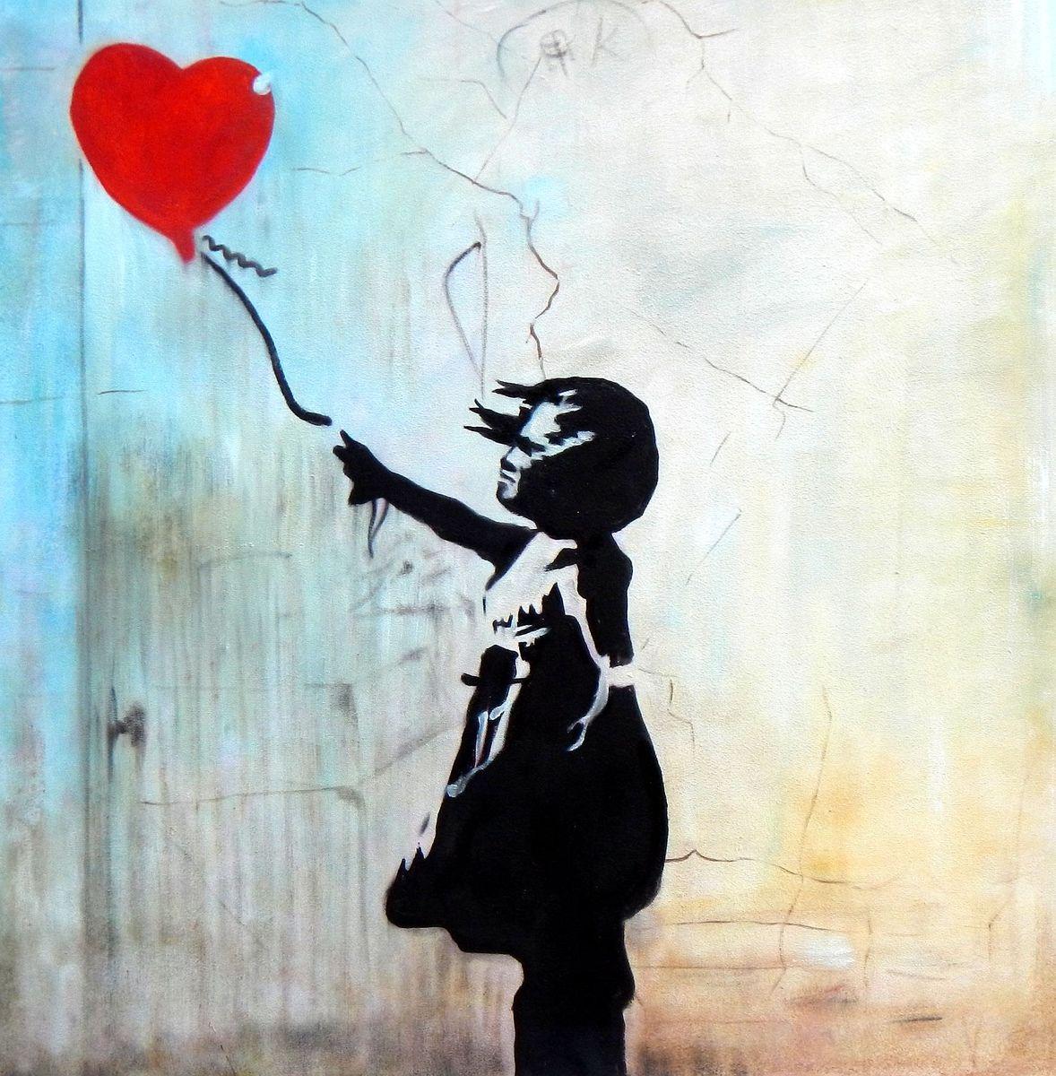 Homage to Banksy - Girl with balloon e93083 60x60cm exquisites Ölgemälde