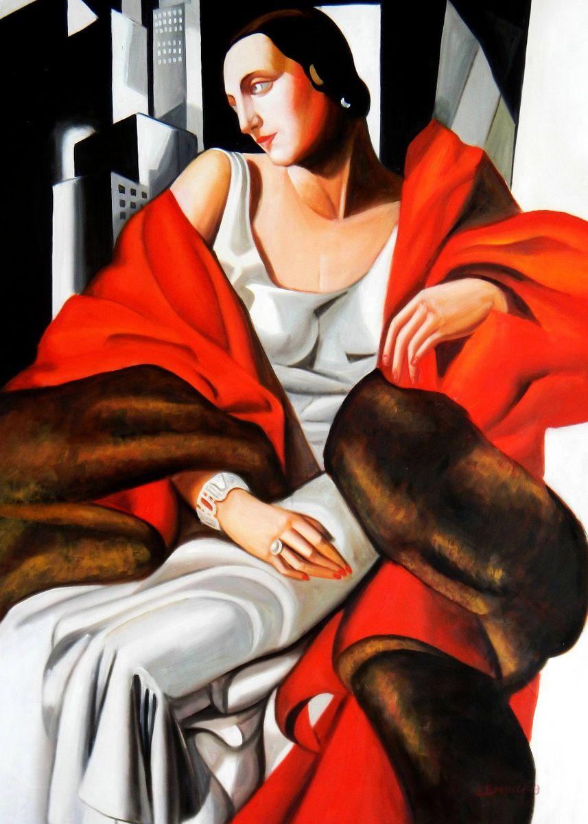 Homage to T. de Lempicka - Portrait der Madame Boucard i93120 80x110cm Art Deco Ölgemälde handgemalt