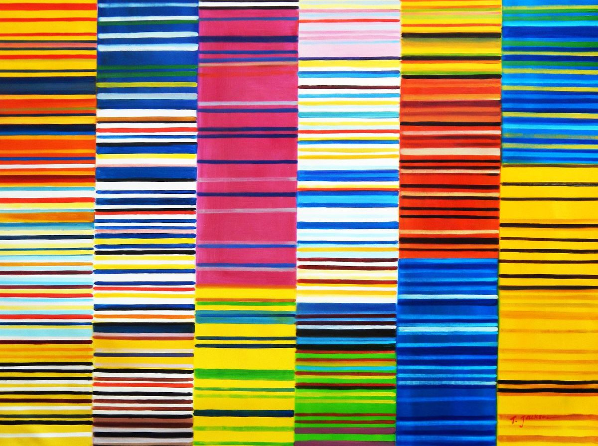 Modern Art - Lorenz stripes homage of Paul Smith k93142 90x120cm Ölgemälde