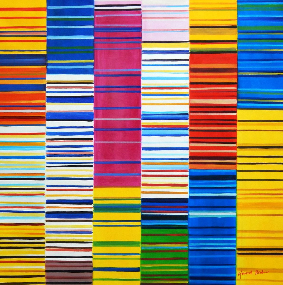 Modern Art - Lorenz stripes homage of Paul Smith m93149 120x120cm Ölgemälde