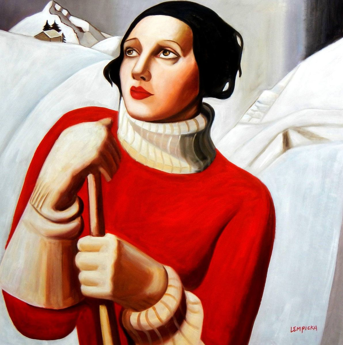 Homage to T. Lempicka - Sain Moritz m93150 120x120cm handgemaltes Gemälde