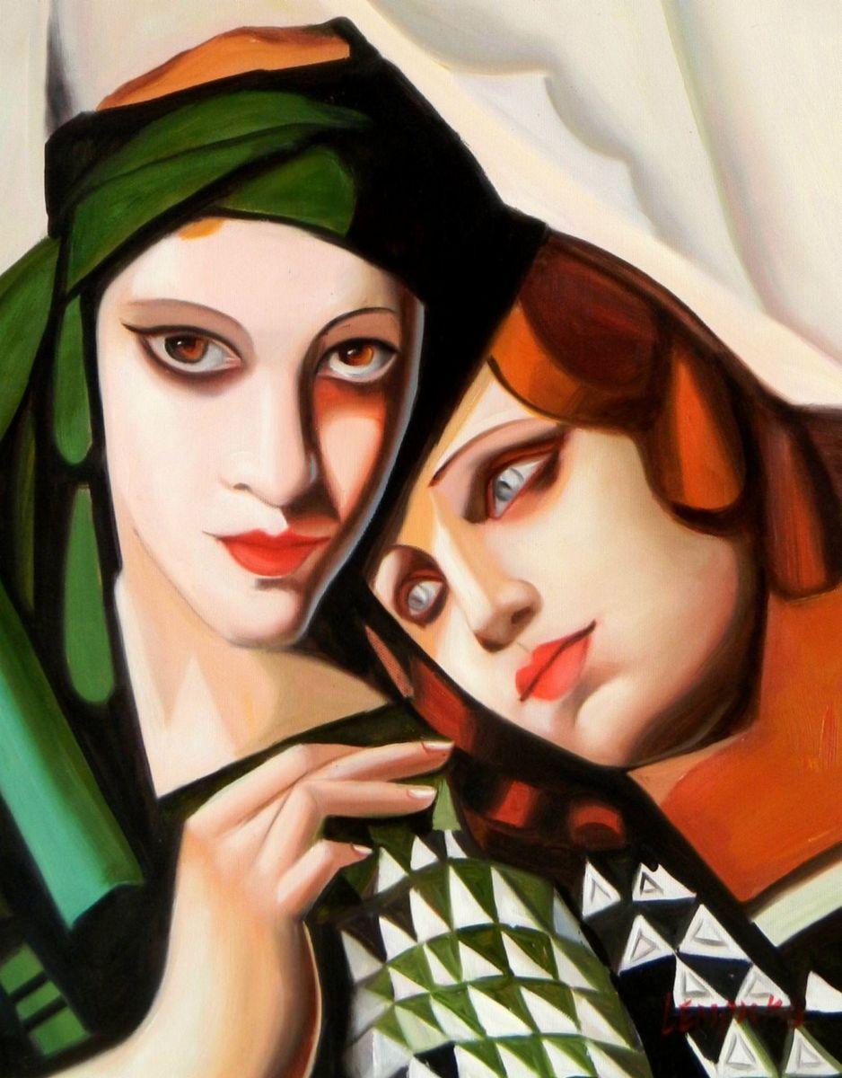 Homage of Tamara de Lempicka - Der grüne Turban a93198 30x40cm exquisites Ölbild