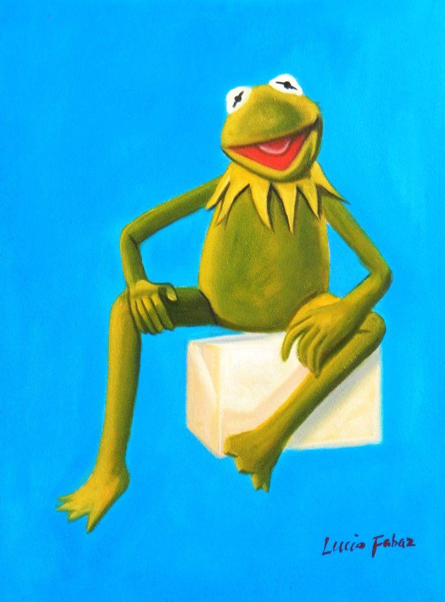 Pop Art - Muppets Kermit auf Blau a93207 30x40cm spektakuläres Ölbild handgemalt