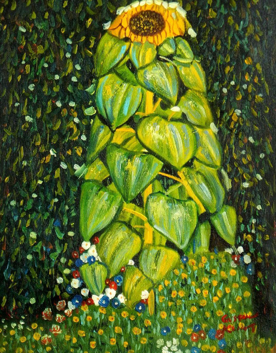 Gustav Klimt - Die Sonnenblume a93210 30x40cm handgemaltes Ölgemälde