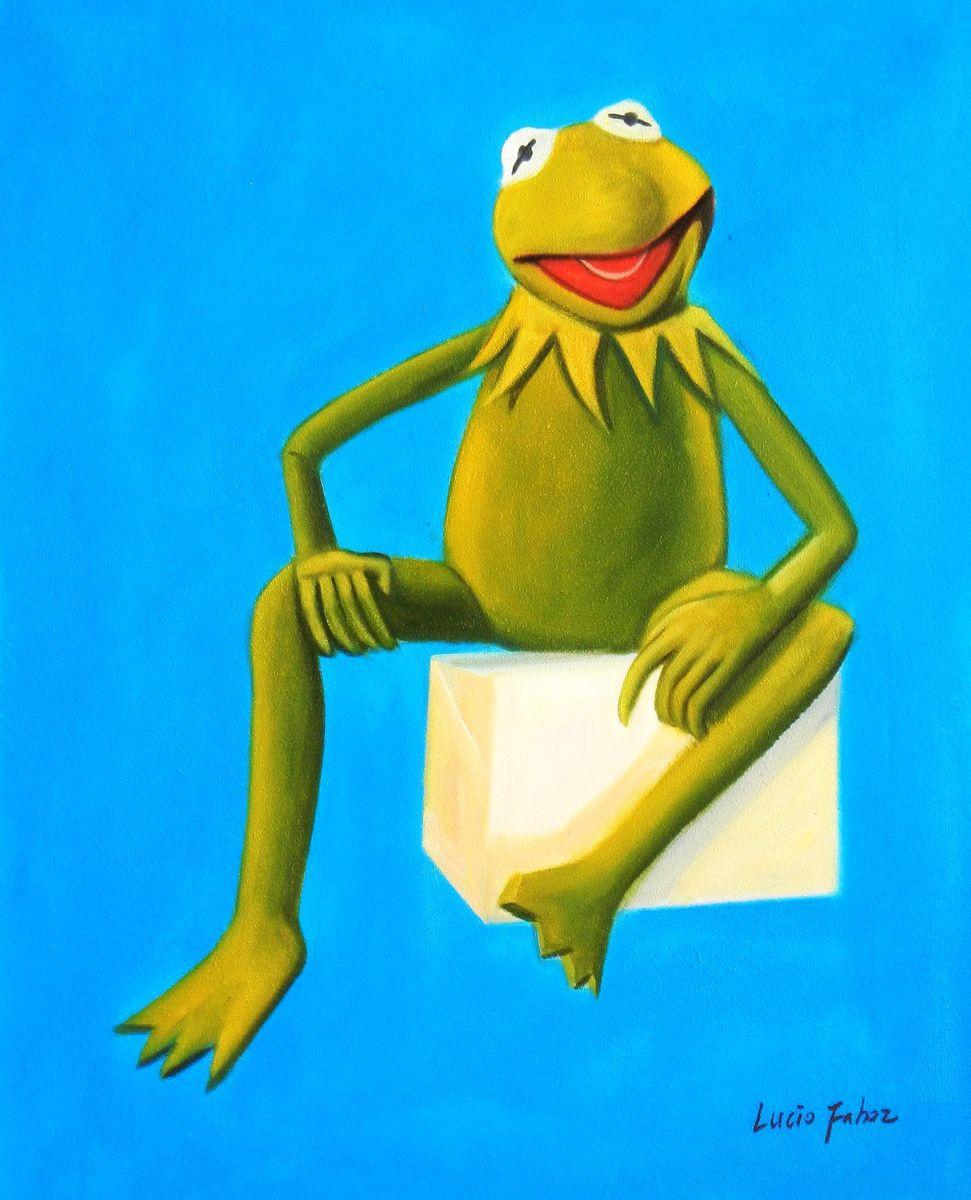 Pop Art - Muppets Kermit auf Blau b93237 40x50cm spektakuläres Ölbild handgemalt