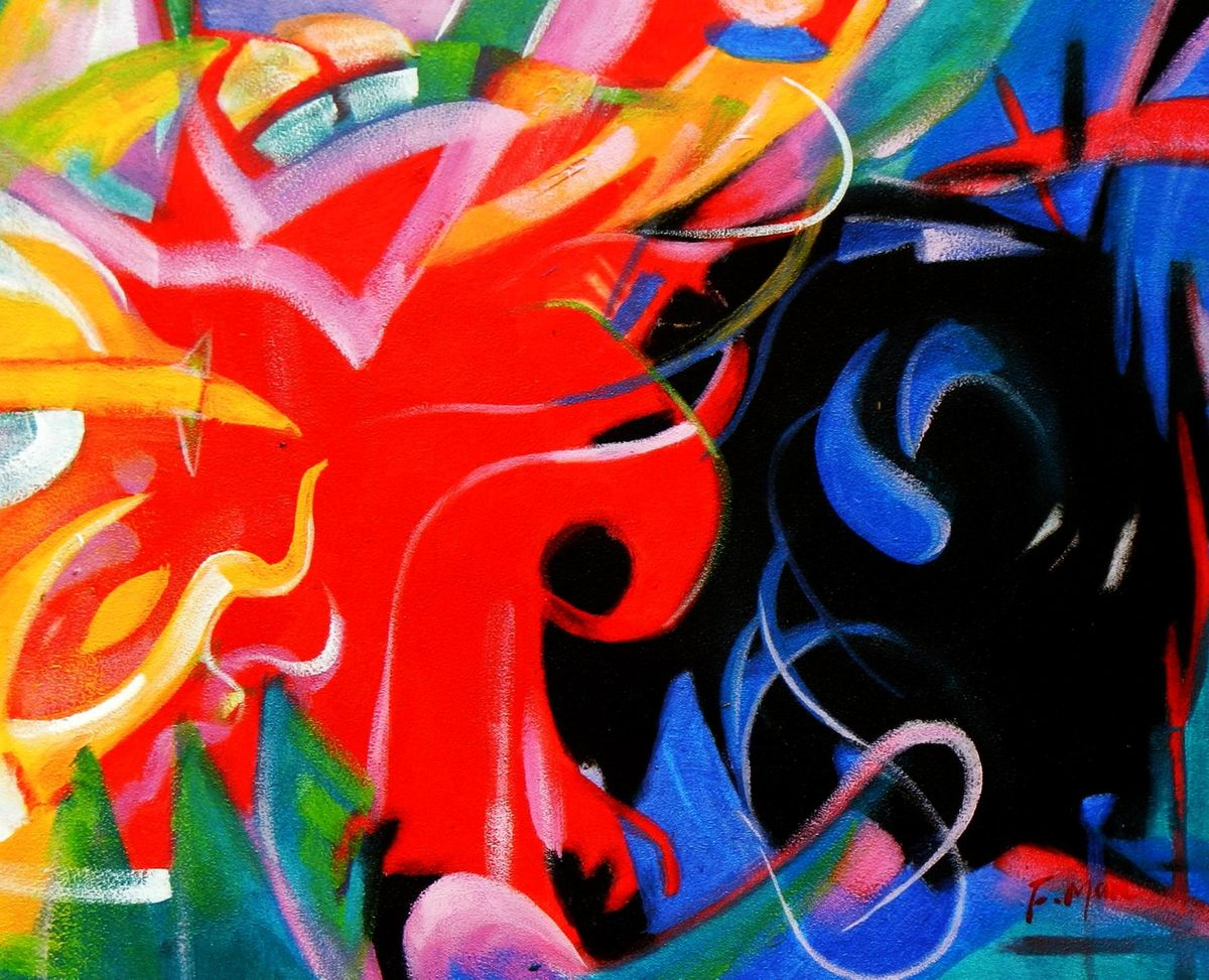 Franz Marc - Fighting Forms b93248 40x50cm Expressionismus Ölgemälde