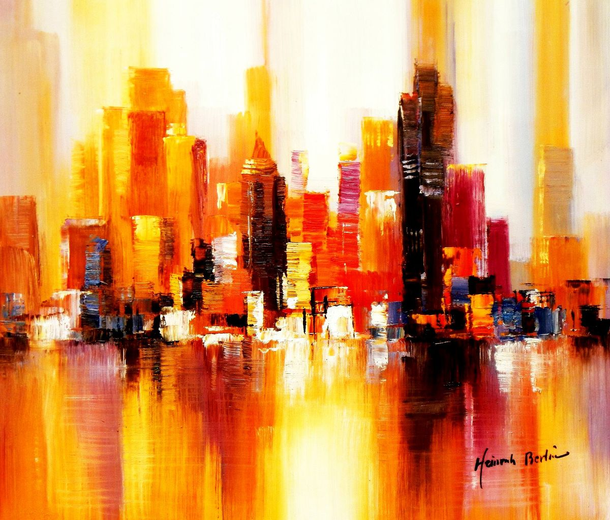 Abstrakt New York Manhattan Skyline im Herbst c93284 50x60cm abstraktes Ölbild