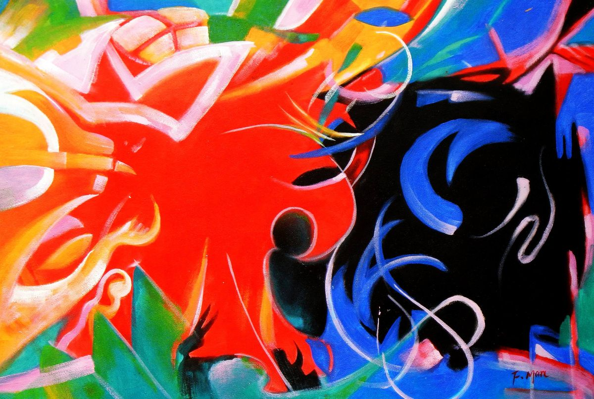 Franz Marc - Fighting Forms d93383 60x90cm Expressionismus Ölgemälde