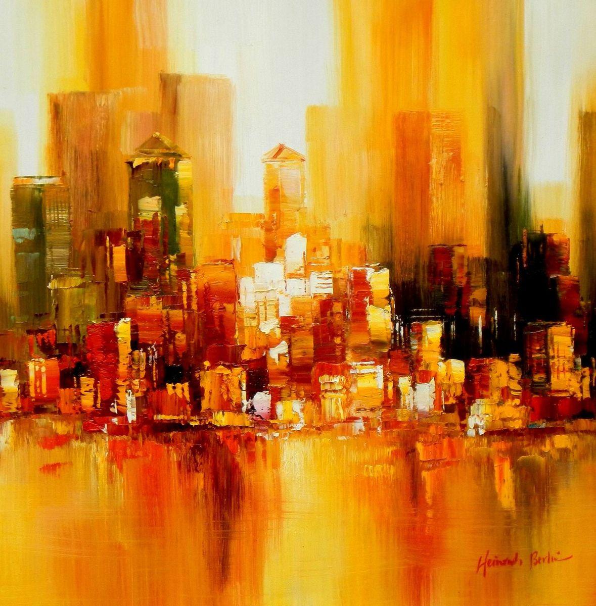 Abstrakt New York Manhattan Skyline im Herbst e93411 60x60cm abstraktes Ölbild