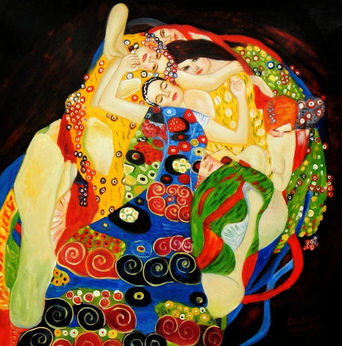 Gustav Klimt - Jungfrauen e93416 60x60cm Jugendstil Ölgemälde handgemalt