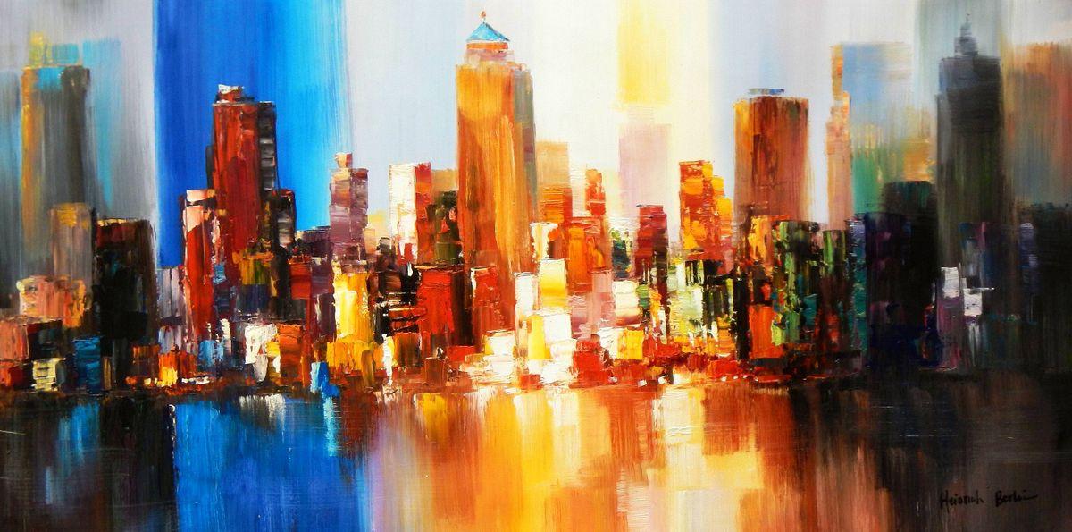 Abstrakt New York Manhattan Skyline im Frühling f93450 60x120cm eindrucksvolles Gemälde handgemalt