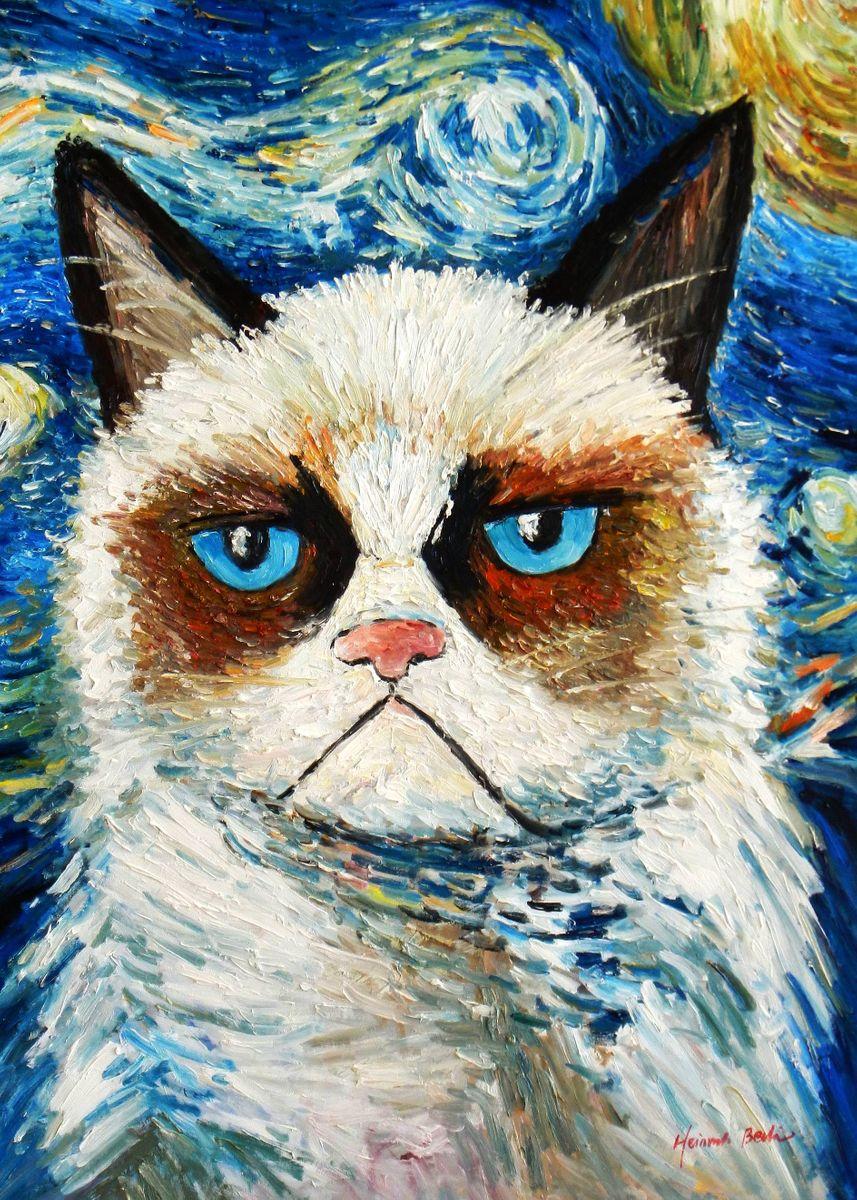 Modern Art - Grumpy cat meets Van Gogh i93497 80x110cm exquisites Ölgemälde
