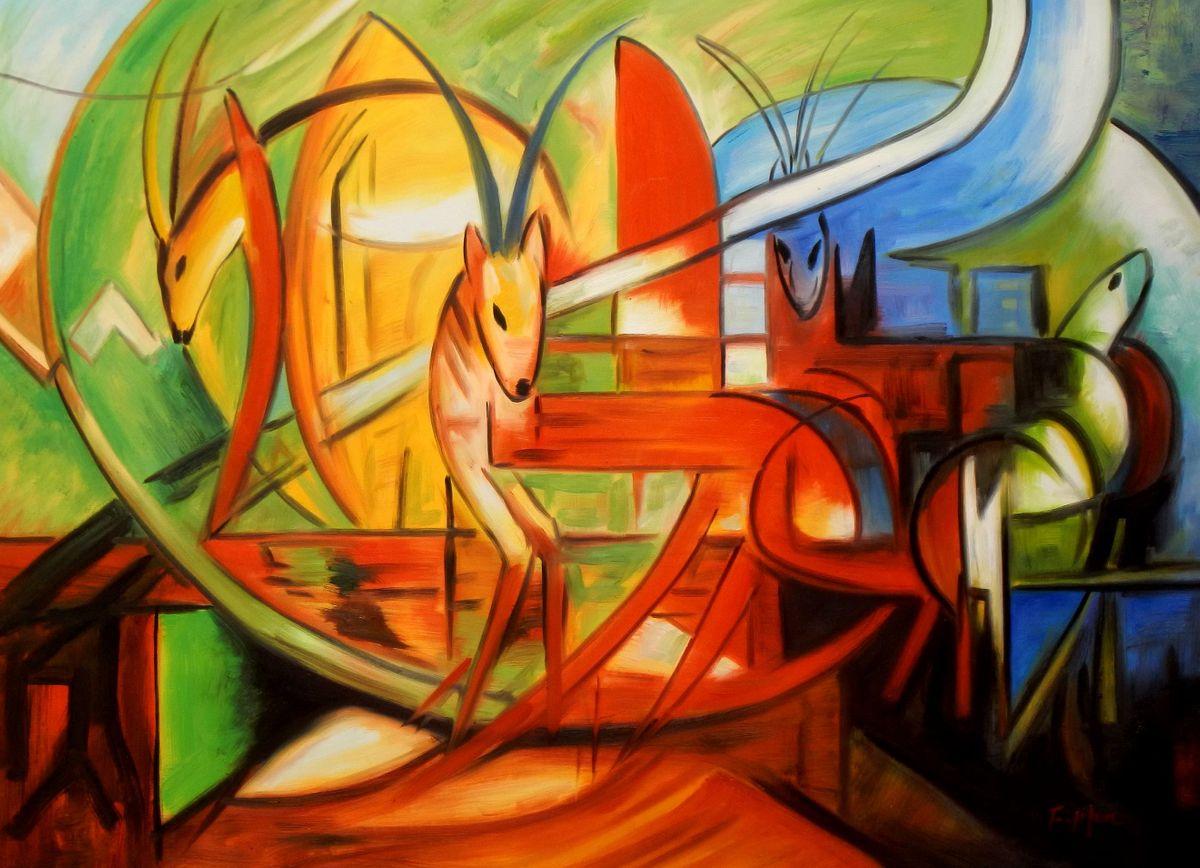 Franz Marc - Gazellen i93518 80x110cm Expressionismus Ölgemälde