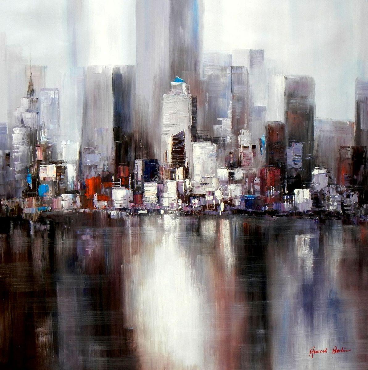 Abstrakt New York Manhattan Skyline im Morgengrau m93554 120x120cm abstraktes Ölbild Museumsqualität