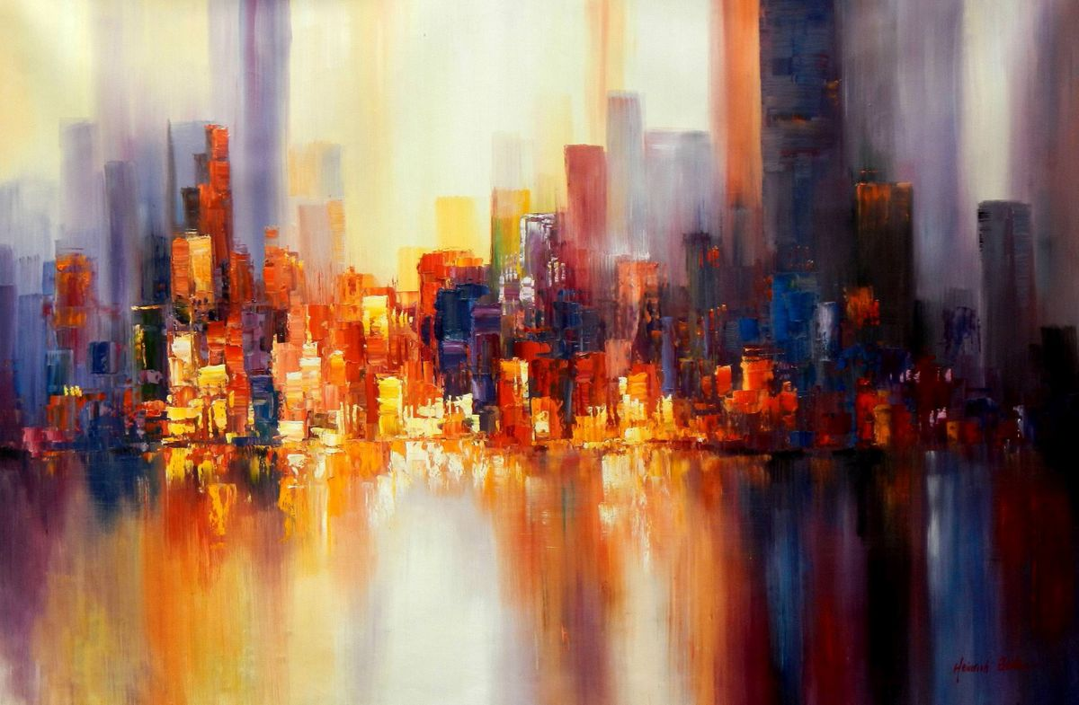 Abstrakt New York Skyline am Abend p93583 120x180cm imposantes Ölgemälde