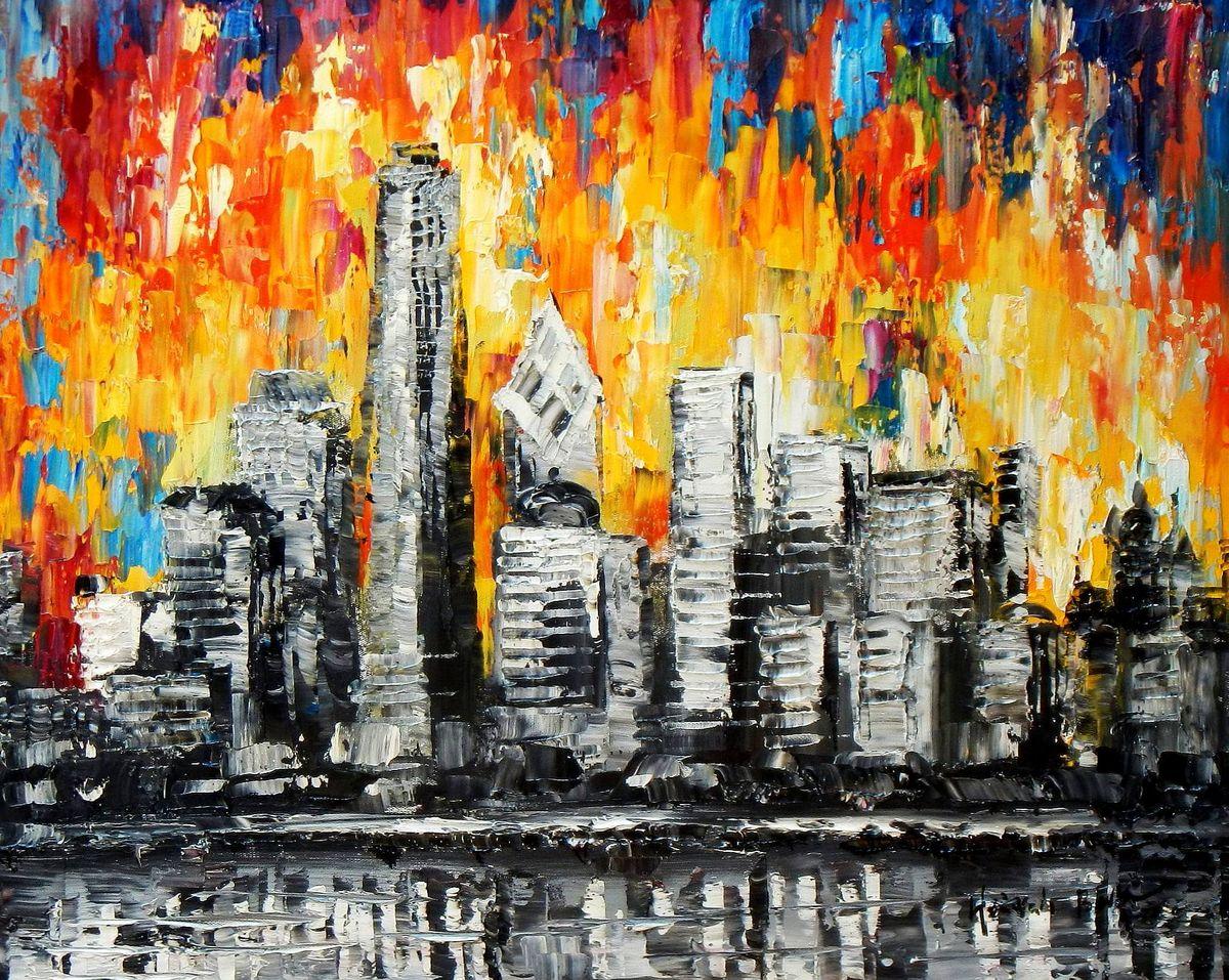 Abstrakt - New York Skyline am Abend c93642 50x60cm beeindruckendes Ölbild