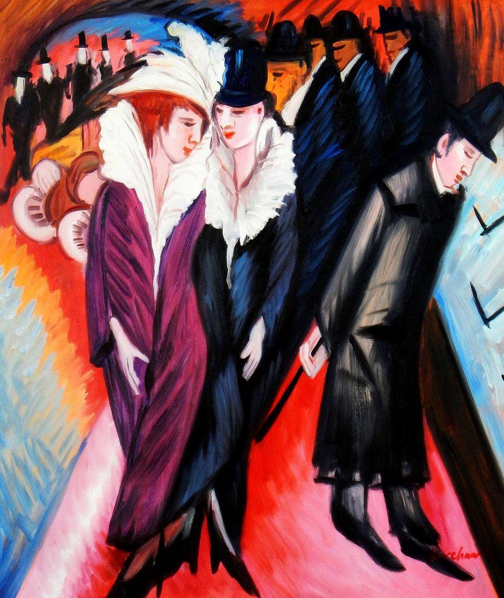 Ernst Ludwig Kirchner - Straßenszene Berlin c93656 G 50x60cm exquisites Ölbild