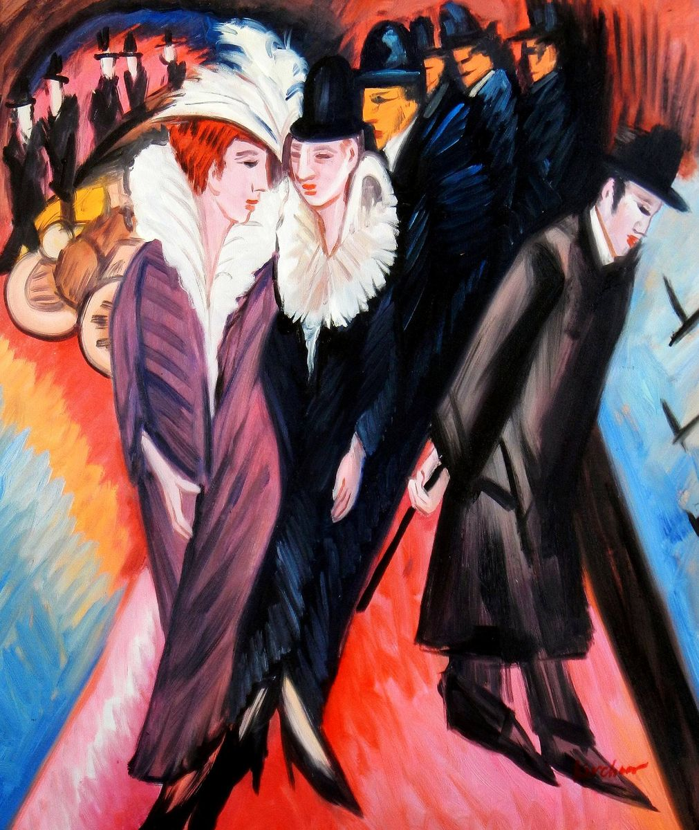 Ernst Ludwig Kirchner - Straßenszene Berlin c93657 50x60cm exquisites Ölbild