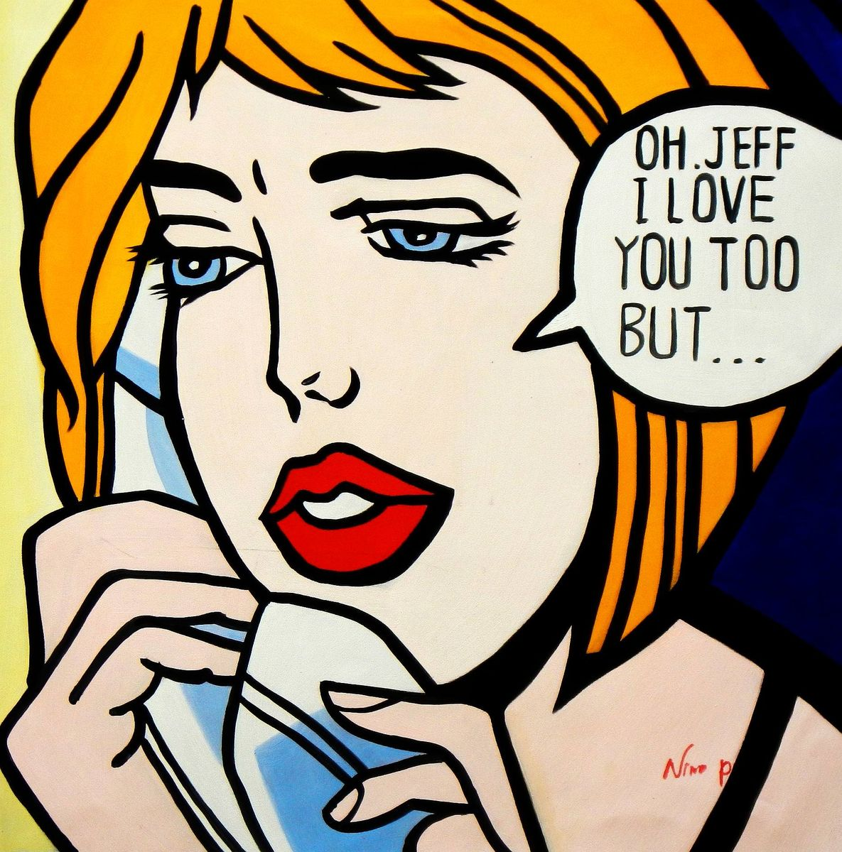 Homage to Roy Lichtenstein - I love you Pop Art e93729 60x60cm exquisites Ölbild handgemalt