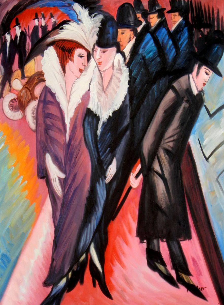 Ernst Ludwig Kirchner - Straßenszene Berlin i93792 80x110cm exquisites Ölbild