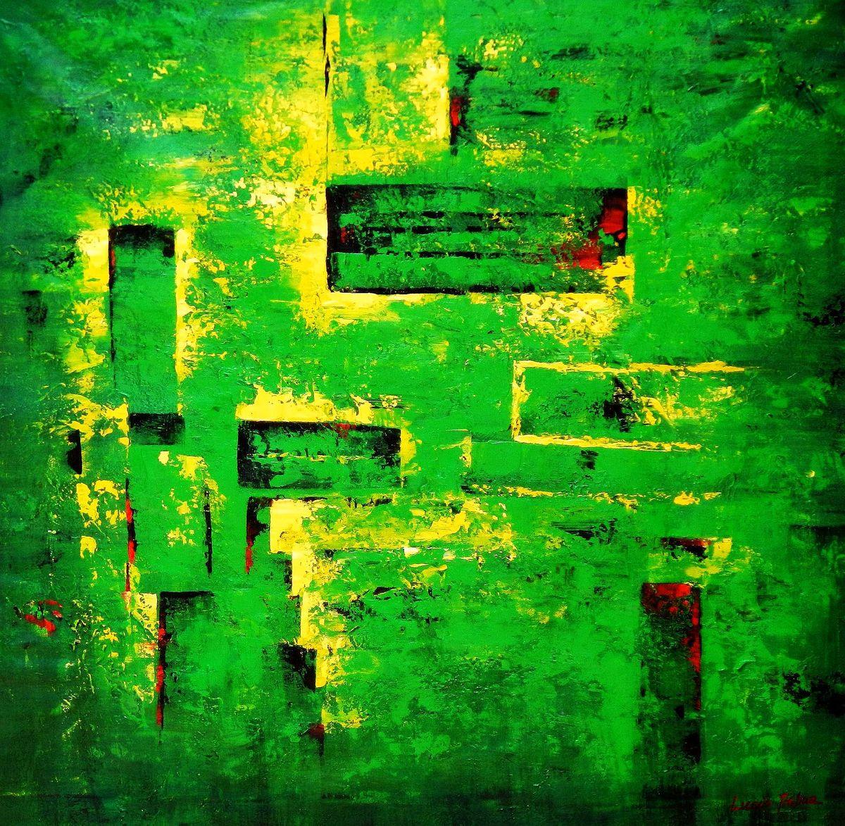 Abstrakt - Berlin Tiergarten m93817 120x120cm abstraktes Ölbild handgemalt