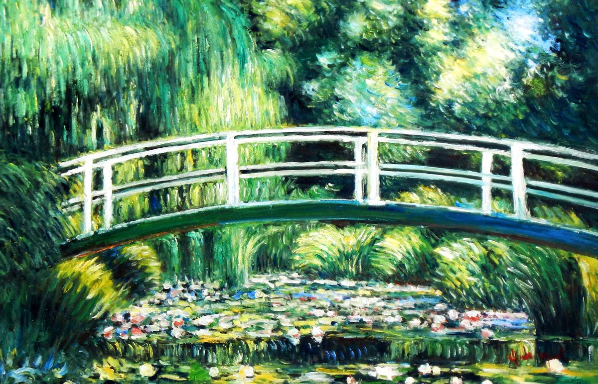 Claude Monet - Brücke über dem Seerosenteich d93943 60x90cm Ölbild handgemalt