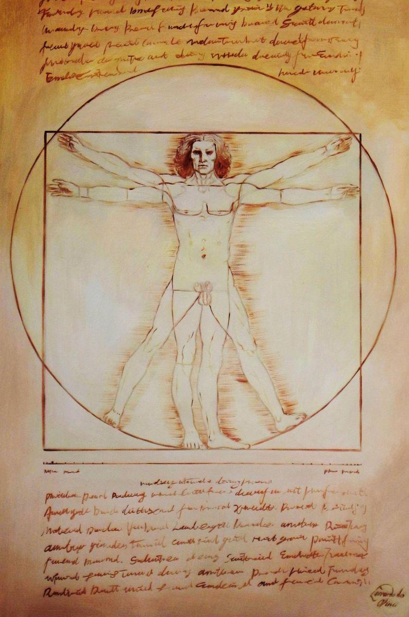 Leonardo da Vinci - Proportionsstudie d93960 60x90cm handgemaltes Ölgemälde