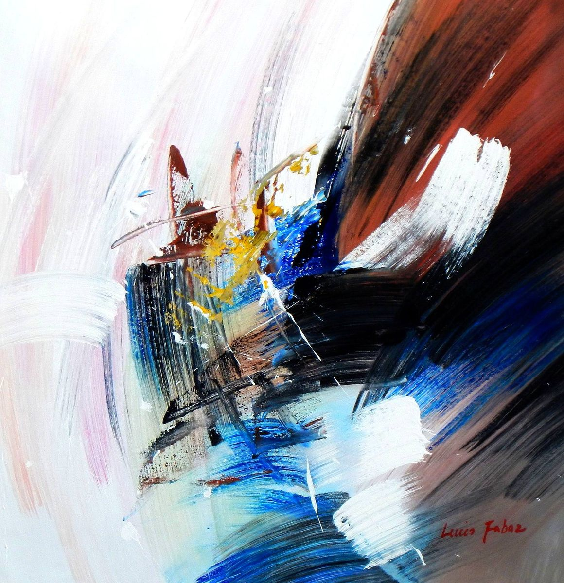 Abstract - New York sailing journey e93977 60x60cm abstraktes Ölgemälde handgemalt