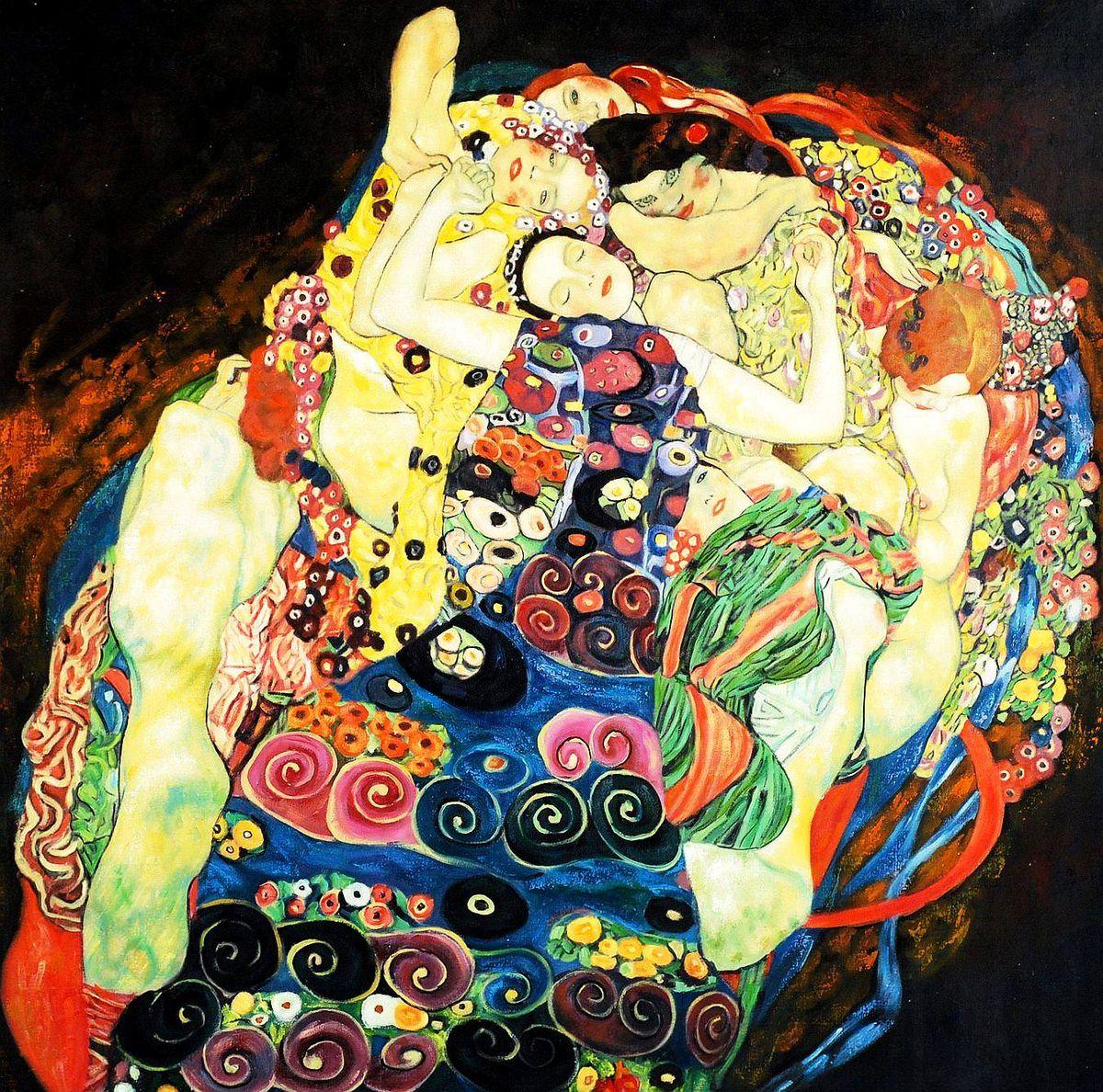 Gustav Klimt - Jungfrauen g93855 80x80cm Jugendstil Ölgemälde handgemalt Museumsqualität