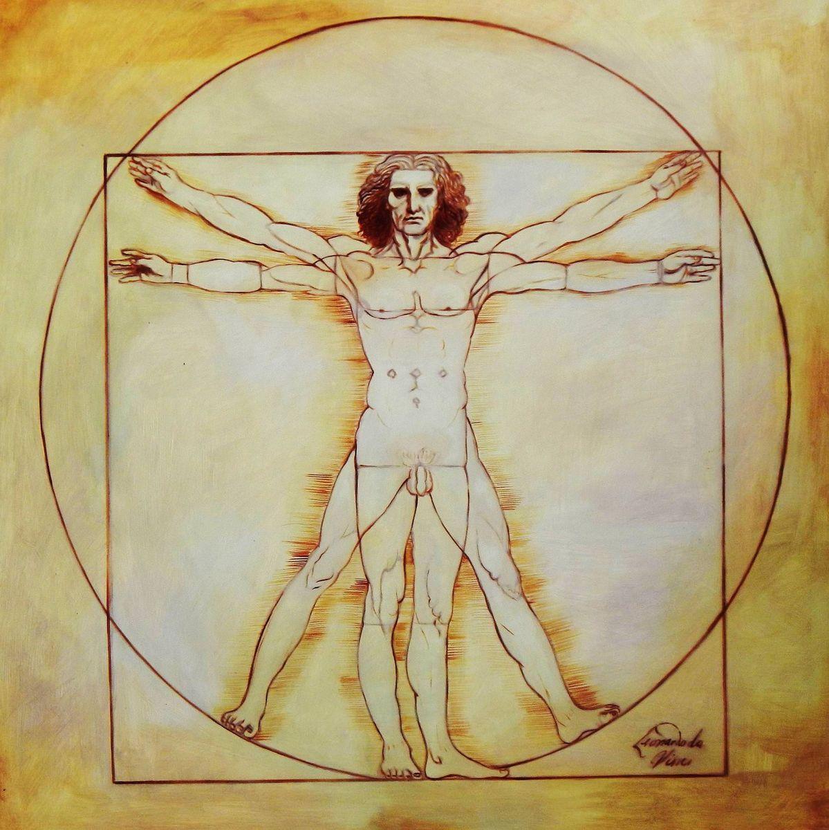 Leonardo da Vinci - Proportionsstudie h94024 90x90cm handgemaltes Ölgemälde