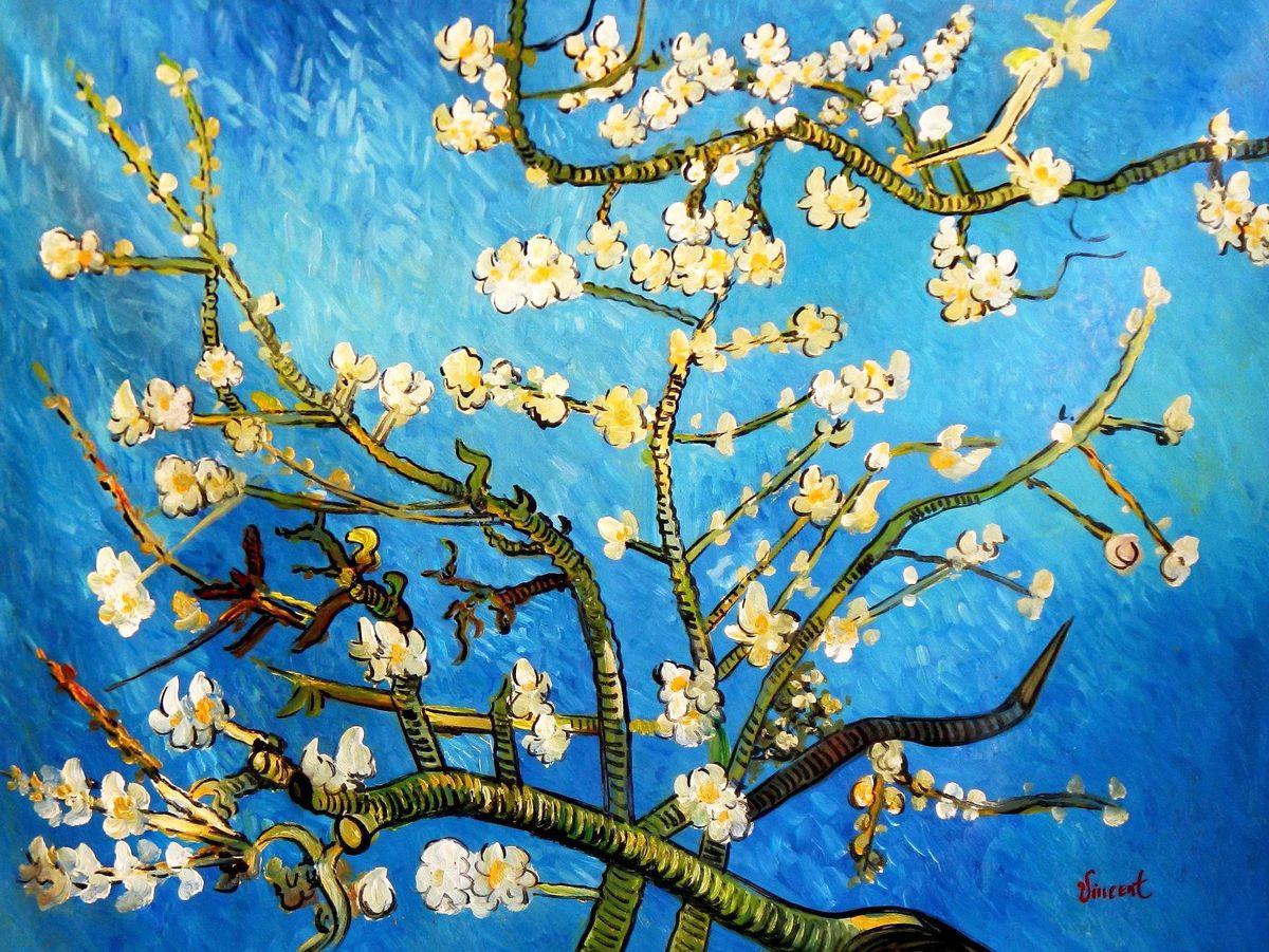 Vincent van Gogh - Äste mit Mandelblüten k94061 G 90x120cm Ölbild handgemalt